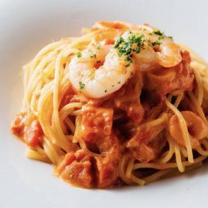 海老の濃厚トマトクリームスパゲッティ